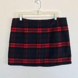 RD Style Red Plaid Faux Wrap Mini Skirt Large